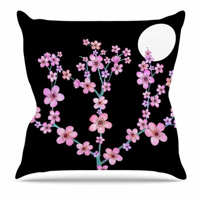 Cherry Blossom at Night Throw Pillow Size: 16 H x 16 W x 6 D