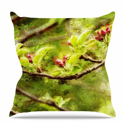 Painted Apple Blossom Branch Throw Pillow Size: 18 H x 18 W x 6 D