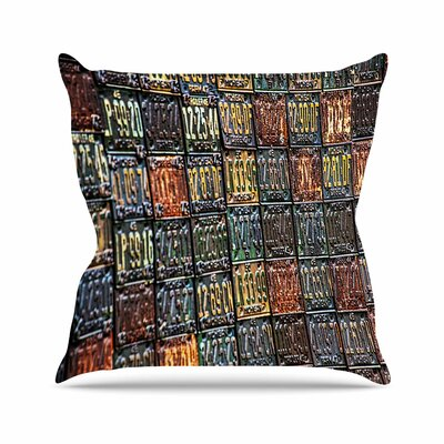 Rusted License Plates Throw Pillow Size: 26