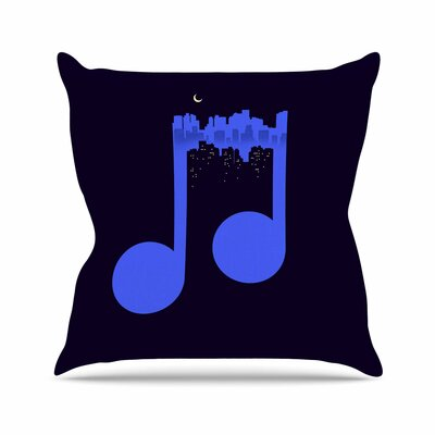 Night Music Throw Pillow Size: 16 H x 16 W x 6 D