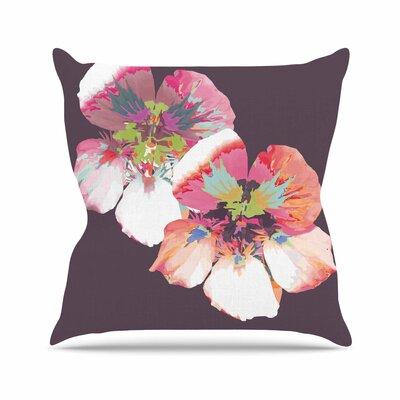 Graphic Flower Nasturtium Throw Pillow Color: Lavender, Size: 26 H x 26 W x 7 D