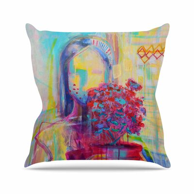 Girl with Plants III Throw Pillow Size: 16 H x 16 W x 6 D