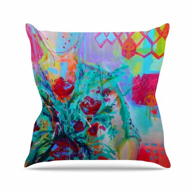 Girl with Plants I Throw Pillow Size: 16 H x 16 W x 6 D