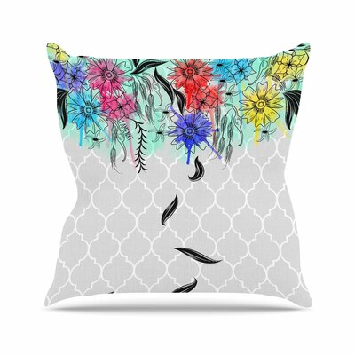 Watercolor Spring Throw Pillow Size: 18 H x 18 W x 6 D