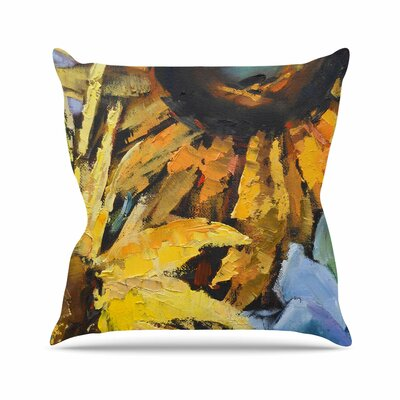 Sunflowers and Hydrangea Throw Pillow Size: 18 H x 18 W x 6 D