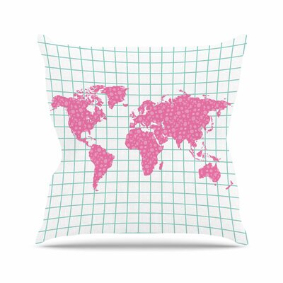 Grid Map Throw Pillow Size: 18 H x 18 W x 6 D