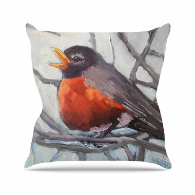 Winter Robin Throw Pillow Size: 26 H x 26 W x 7 D