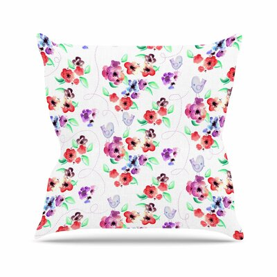 Spring Flowers and Birds Throw Pillow Size: 16 H x 16 W x 6 D