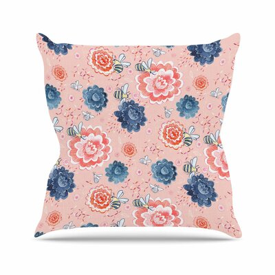 Bees Please Throw Pillow Size: 16 H x 16 W x 6 D