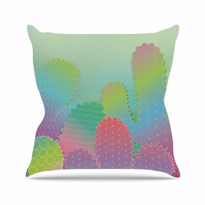 Colorful Cacti Garden Throw Pillow Size: 16 H x 16 W x 6 D