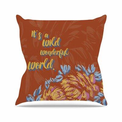 Wonderful World Throw Pillow Size: 26 H x 26 W x 7 D