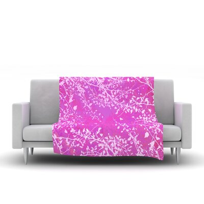 Twigs Silhouette Fleece Throw Blanket Size: 80 L x 60 W, Color: Pink