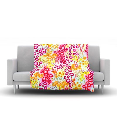 Fleece Throw Blanket Size: 80 L x 60 W, Color: Pink Yellow