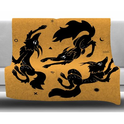 Dancing Wolves by Anya Volk Fleece Blanket Size: 50 W x 60 L