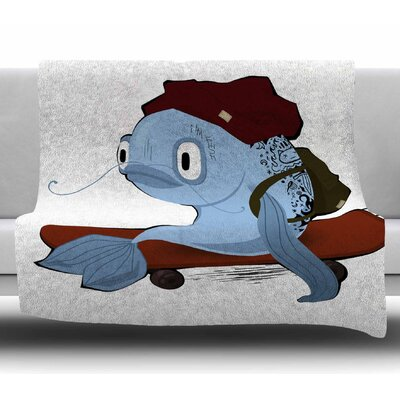 Fish Skateboarder by Anya Volk Fleece Blanket Size: 50 W x 60 L