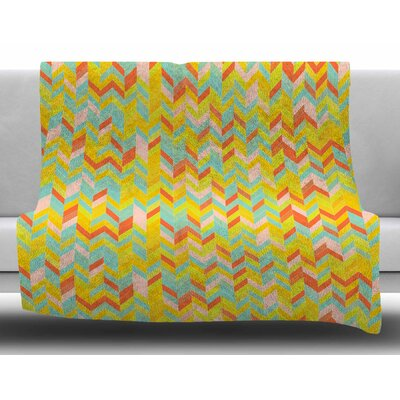 Chevron Pop by Allison Soupcoff Fleece Blanket Size: 50 W x 60 L