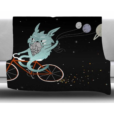 Bunny In Space by Anya Volk Fleece Blanket Size: 60 W x 80 L