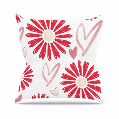 Hearts and Flowers Alison Coxon Throw Pillow Size: 16 H x 16 W x 4 D