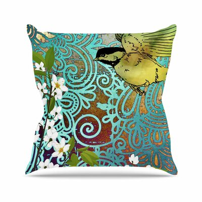 Bird and Blossom AlyZen Moonshadow Throw Pillow Size: 16 H x 16 W x 4 D