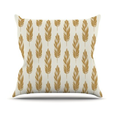 Feathers by Amanda Lane Throw Pillow Size: 18 x 18, Color: Yellow/Cream