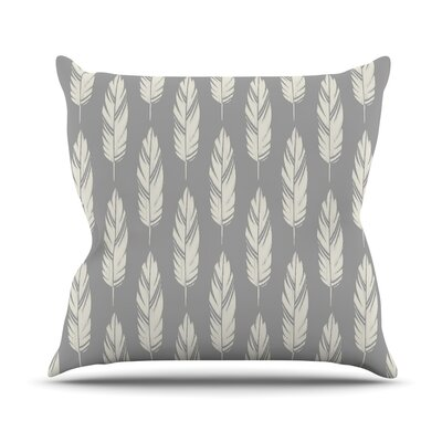 Feathers by Amanda Lane Throw Pillow Size: 16 x 16, Color: Gray