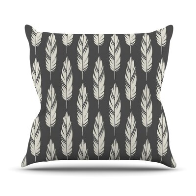 Feathers by Amanda Lane Throw Pillow Size: 16 x 16, Color: Black/Cream