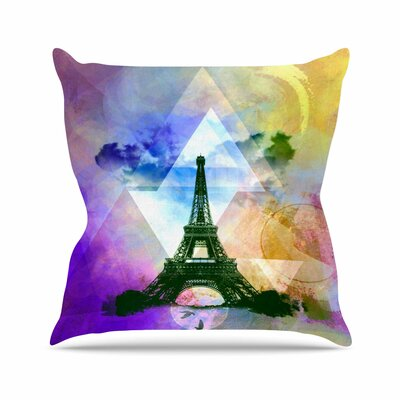 Eiffel Tower by Alyzen Moonshadow Throw Pillow Size: 18 x 18, Color: Purple