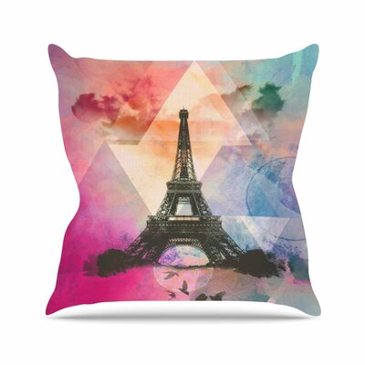Eiffel Tower AlyZen Moonshadow Throw Pillow Color: Deep Pink