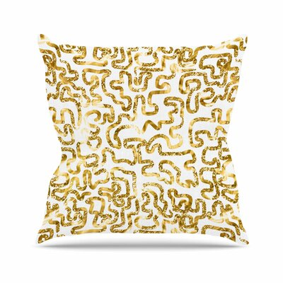 Squiggles Anneline Sophia Throw Pillow Color: Gold