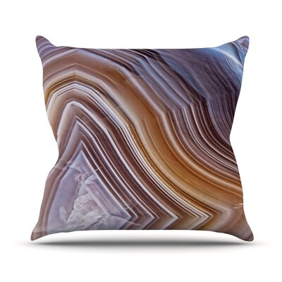 Pale Layered Agate Throw Pillow Size: 16 H x 16 W x 4 D
