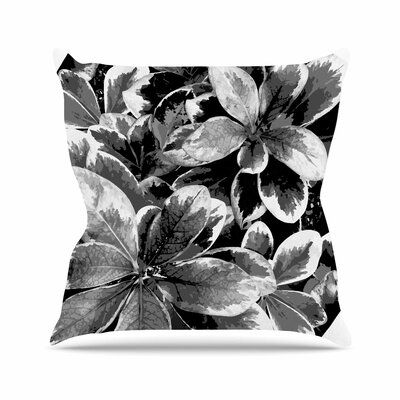 Leaves Julia Grifol Throw Pillow Size: 26 H x 26 W x 4 D, Color: Black