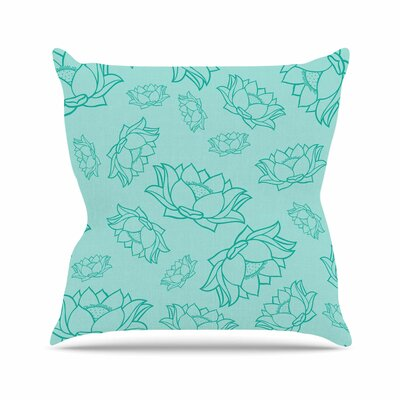 Lotus Pattern Floral Throw Pillow Size: 18 H x 18 W x 4 D, Color: Teal