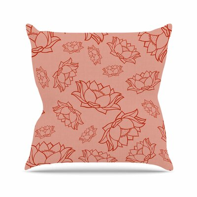 Lotus Pattern Floral Throw Pillow Size: 16 H x 16 W x 4 D, Color: Red