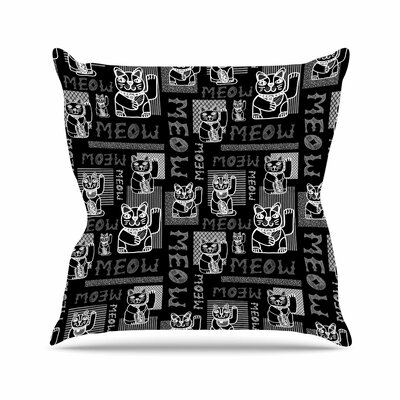 Meow Repeat Jane Smith Throw Pillow Size: 16