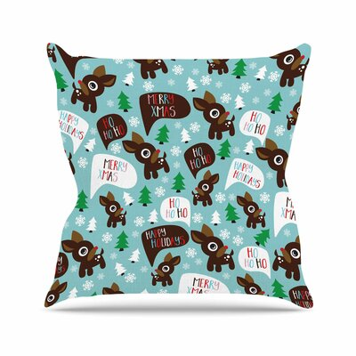 Cheerful Reindeer Throw Pillow Size: 16 H x 16 W x 4 D