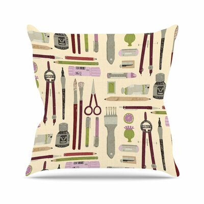Art Supplies Judith Loske Pattern Throw Pillow Size: 18 H x 18 W x 4 D