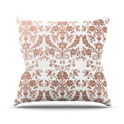 Baroque Rose Throw Pillow Size: 16 H x 16 W x 4 D, Color: Rose Gold