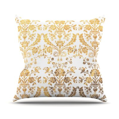 Baroque Rose Throw Pillow Size: 18 H x 18 W x 4 D, Color: Gold