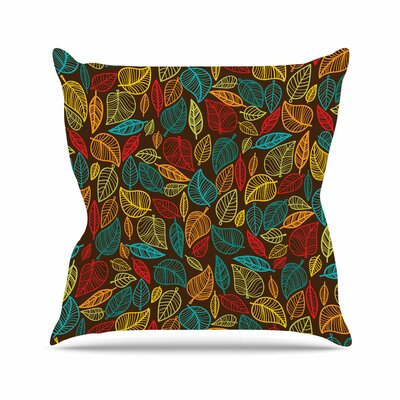 Leaves All Around Throw Pillow Size: 16