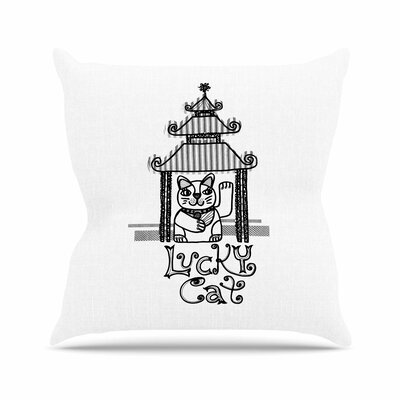 Lucky Cat Jane Smith Throw Pillow Size: 18