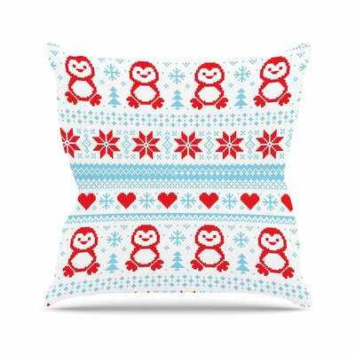 Pixel Penguin Holiday Christmas Pattern Throw Pillow Size: 16 H x 16 W x 4 D