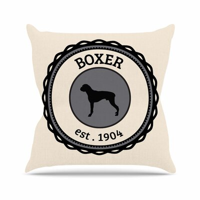 Boxer Dogs Throw Pillow Size: 16 H x 16 W x 4 D