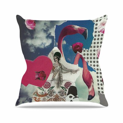 Flamingo Attack Jina Ninjjaga Pop Art Throw Pillow Size: 26 H x 26 W x 4 D