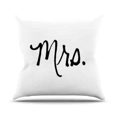 Mrs. Couples Throw Pillow Size: 18 H x 18 W x 4 D, Color: White