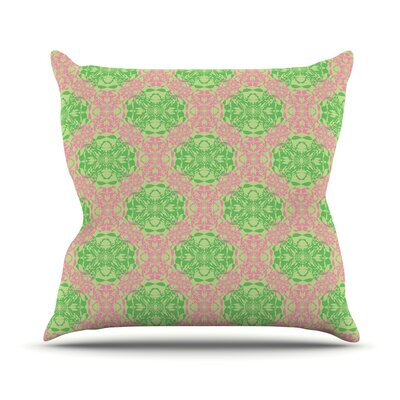 Diamond Illusion Damask by Mydeas Throw Pillow Size: 16 x 16, Color: Watermelon