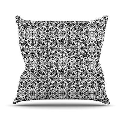 Fancy Damask by Mydeas Throw Pillow Size: 16 x 16, Color: Black/White