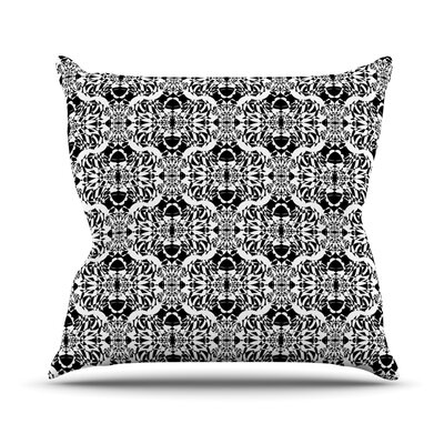 Illusion Damask by Mydeas Throw Pillow Size: 16 x 16, Color: Black/White
