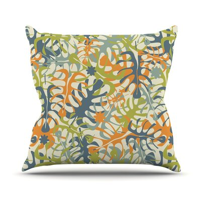 Summer Tropical Leaves Julia Grifol Throw Pillow