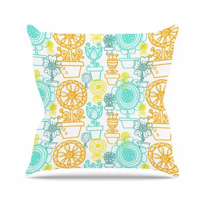 Potted Florals by Jane Smith Throw Pillow Size: 18 H x 18 W