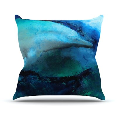 Dolphin by Josh Serafin Throw Pillow Size: 26 H x 26 W